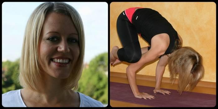Kristin im Portrait und beim Yoga