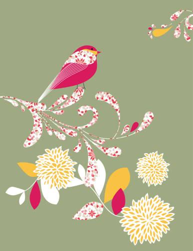 Blumen und Vögel: Klassiker unter den Wandtattoos.