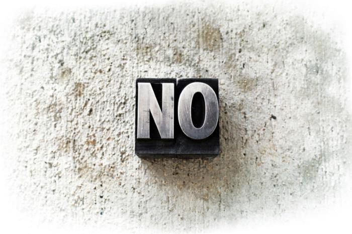 """Das Wort """"No"""", in alten Blockbuchstaben geschrieben"""