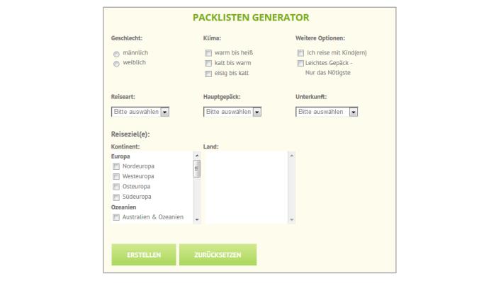 Generator Packliste